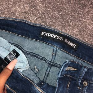 Express Jeans - dark wash distressed jeans